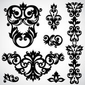Set with classical ornament in Victorian style. — Stockvektor