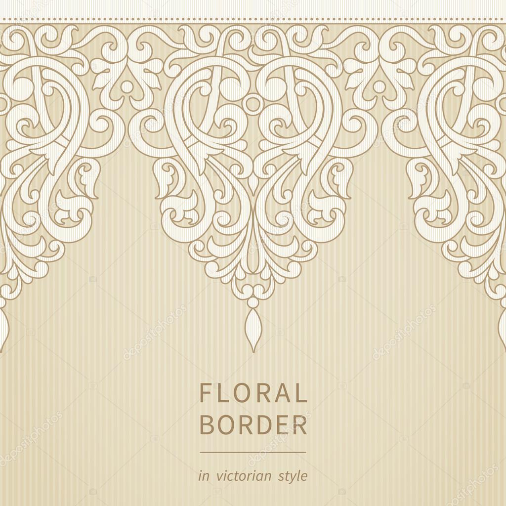 矢量无缝边框在维多利亚时代的风格.元素的设计和装饰背景.