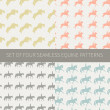 Set of four seamless patterns with equine theme — Stock Vector #40447293
