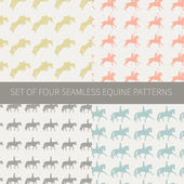 Set of four seamless patterns with equine theme — Stock Vector