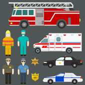 Set of perfect detailed cars - police, ambulancem sheriff, firet — Vettoriale Stock