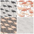 Perfect collection of 4 seamless patterns with flamingo made in — Stock Vector