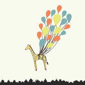 Cute hand drawn giraffe flying on the balloons - perfect newborn — Stock Vector