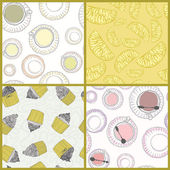 Perfect collection of 4 seamless patterns withcups and deserts m — Stock Vector