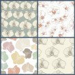 Perfect collection of 4 floral seamless patterns with orchids. V — Stock Vector