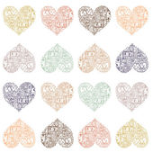Perfect pastel seamless pattern with hearts made of romantic wor — Stock Vector