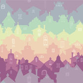 Colorful seamless pattern with old houses. — Stock Vector