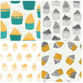 Beautiful seamless sweet pattern with muffins — Stock Vector