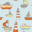 Cute childish seamless background with ships, boats and lighthou — Stock Vector