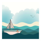 Beautiful yacht sailing in the deep ocean with beach and clouds  — Stock Vector