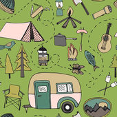 Camping pattern — Stock Vector