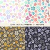 Set di texture seamless carini con fiori perfetti — Vettoriale Stock