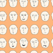 Cute seamless pattern with different facial expressions — ストックベクタ