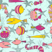 Fish seamless pattern — Stock Vector