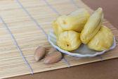 Jackfruit on white plate — Stock Photo