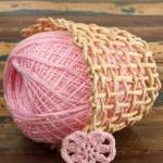 Crochet valentine heart on wooden table. Vertical — Stock Photo #40494703