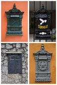 Collage with old postboxes in Brazil — Stock Photo