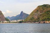 Red beach  Christ the Redeemer Morro da Urca, Rio de Janeiro — Stock Photo