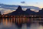 Sunset Lagoon (lagoa) mountain Rio de Janeiro — Stock Photo