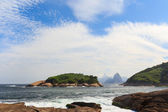 Corcovado Sugarloaf view from  Piratininga beach Rio de Janeiro — Stock Photo
