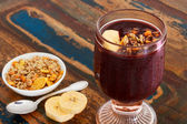 Acai in glass with muesli banana — Foto de Stock