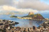 Mountain Sugarloaf in clouds Guanabara bay, Rio de Janeiro — Stock Photo