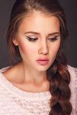 Beautiful girl with a bright lipstick — Stock Photo