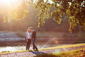 Young couple in love walks in nature — Stock Photo