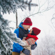 Guy and girl walk and have fun in the forest — Stock Photo #40627721
