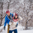 Guy and girl walk and have fun in the forest — Stock Photo #41352287