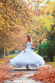 Beautiful bride outdoors in a forest. — Zdjęcie stockowe