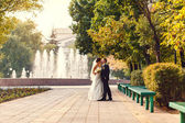 Beautiful newlyweds in wedding day on the lake — Stock Photo