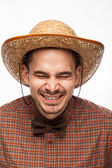 Funny portrait of a man with emotion on her face — Stock Photo