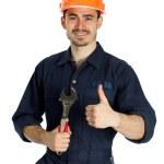 constructor con llave aislado sobre fondo blanco — Foto de Stock   #44916337