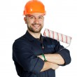 constructor con el rodillo para pintar aislado sobre fondo blanco — Foto de Stock   #44916669