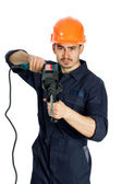 Builder with drill isolated on white background — Stock Photo