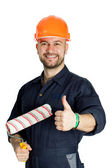 Builder with roller for painting isolated on white background — Stock Photo