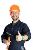 Builder with hammer isolated on white background — Stock Photo