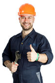 Builder with spanner isolated on white background — Stock Photo