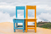 Yellow blue chairs — Stockfoto
