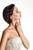 Beautiful Young Brunette In A White Dress — Stock Photo