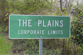 Road sign for The Plains, Virginia — Stock Photo