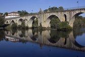 Ancient roman bridge of Ponte da Barca in the north of portugal — Stock Photo