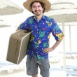 Young silly man traveler portrait — Stock Photo