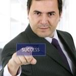 Business man pressing a touchscreen button — Stock Photo