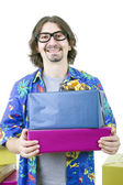 Young casual man holding gifts, isolated  — Stock Photo