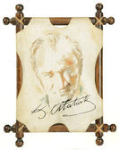 Mustafa Kemal Ataturk Painting With Ataturk Signature — Stock Photo