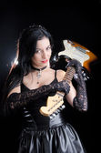 Goth Woman Holding Electric Guitar — Stock Photo