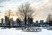 Park bench on a winter alley at snowfall — Stock Photo