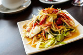 Som tum, papaya spicy sweet and sour salad with raw crab and veg — Stock Photo